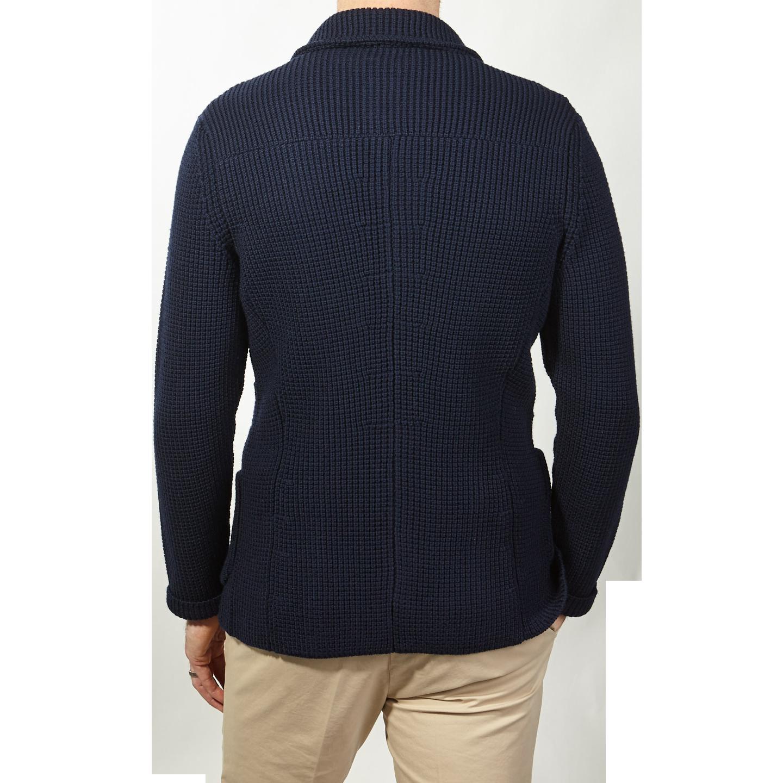 Maurizio Baldassari Navy Knitted Brenta Jacket Back