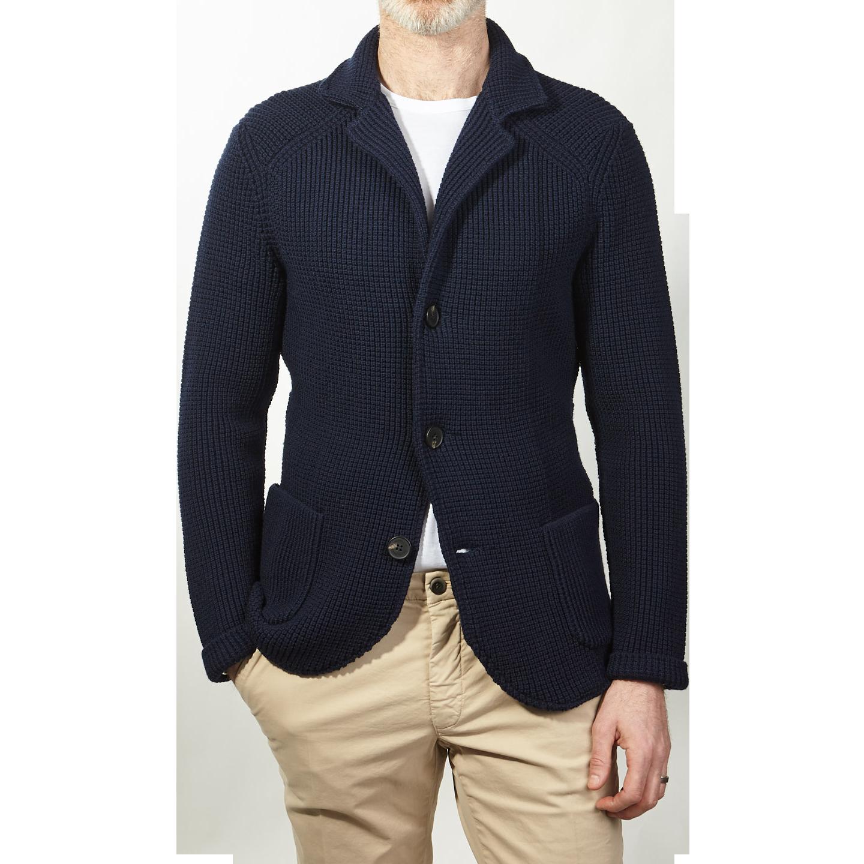 Maurizio Baldassari Navy Knitted Brenta Jacket Front