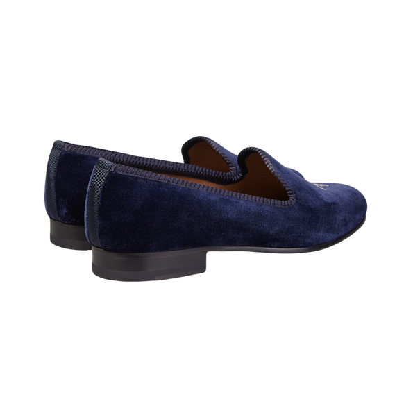 Bow Tie Navy Velvet Slipper French Lily Back