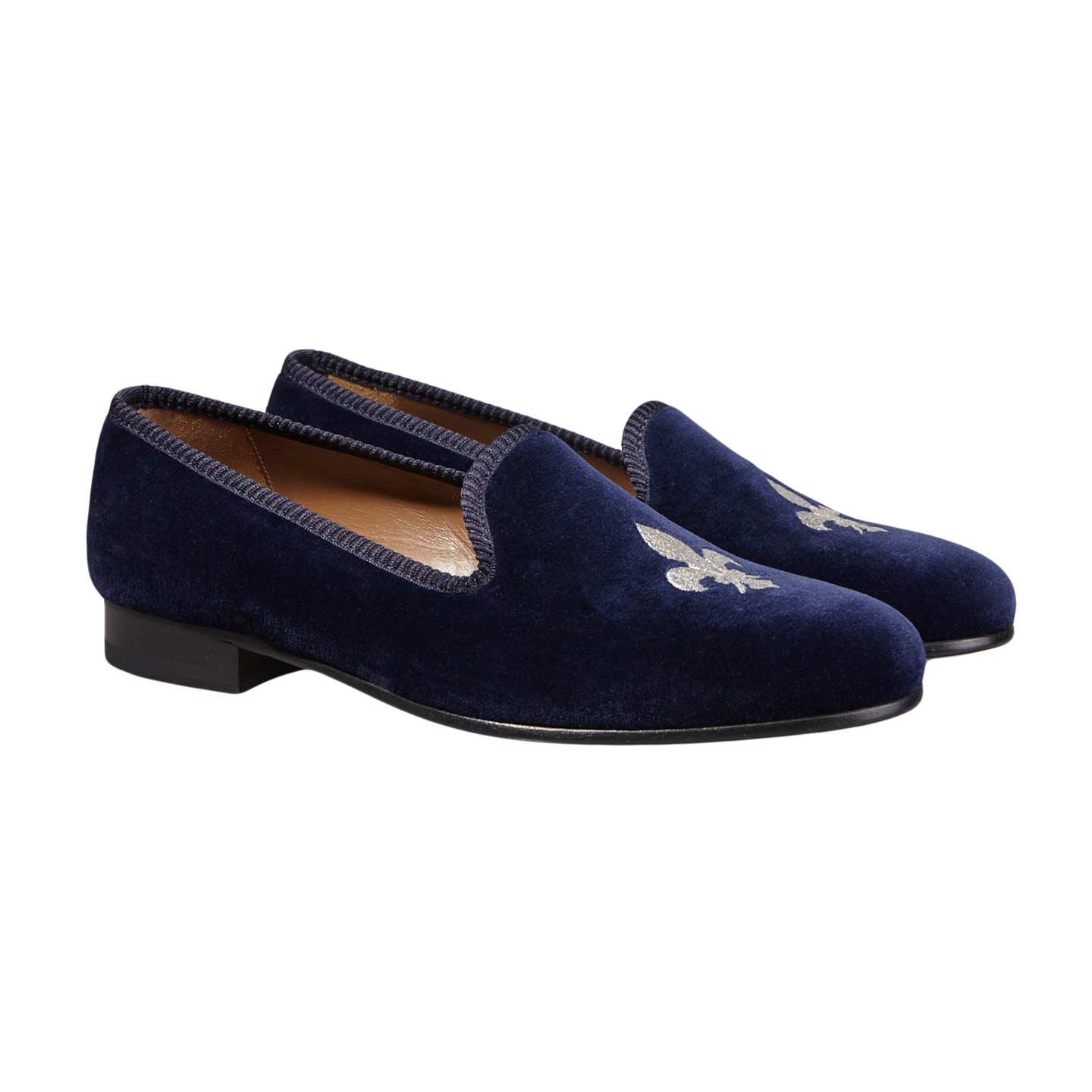 Bow Tie Navy Velvet Slipper French Lily Front