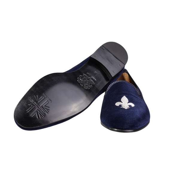 Bow Tie Navy Velvet Slipper French Lily Sole