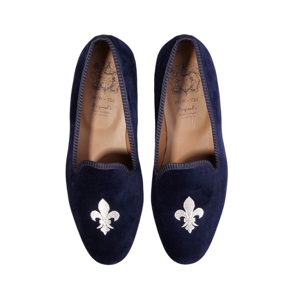 Bow Tie Navy Velvet Slipper French Lily Top
