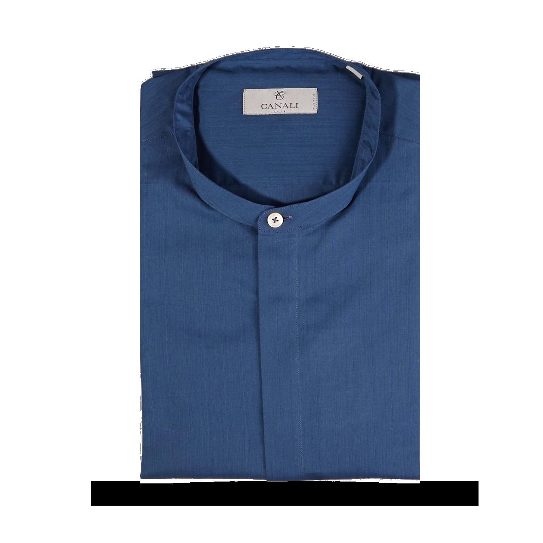 Canali Indigo Blue Grandad Shirt Feature