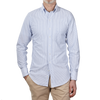 Drake's Blue White Striped Oxford Regular Fit Shirt Front