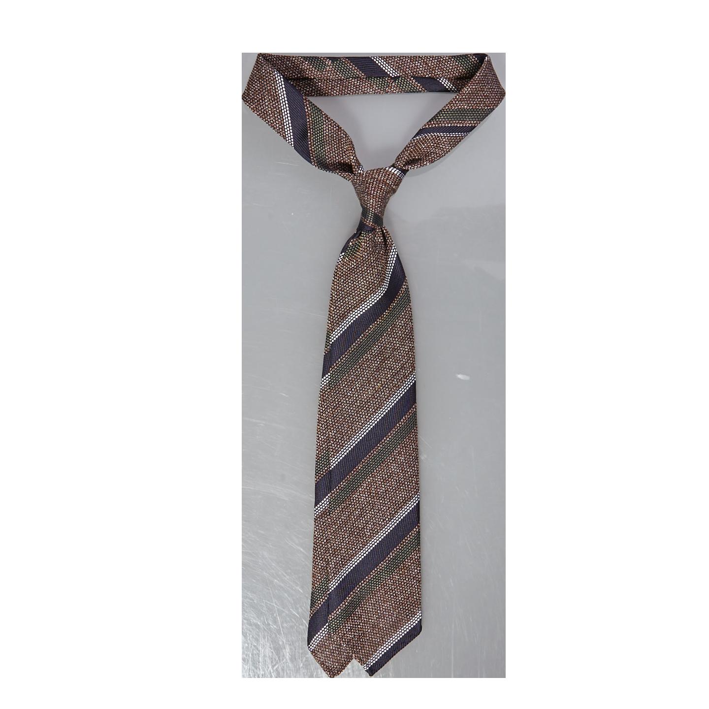 Drake's Brown Multi Tonal Textured Stripe Silk Tie Feature