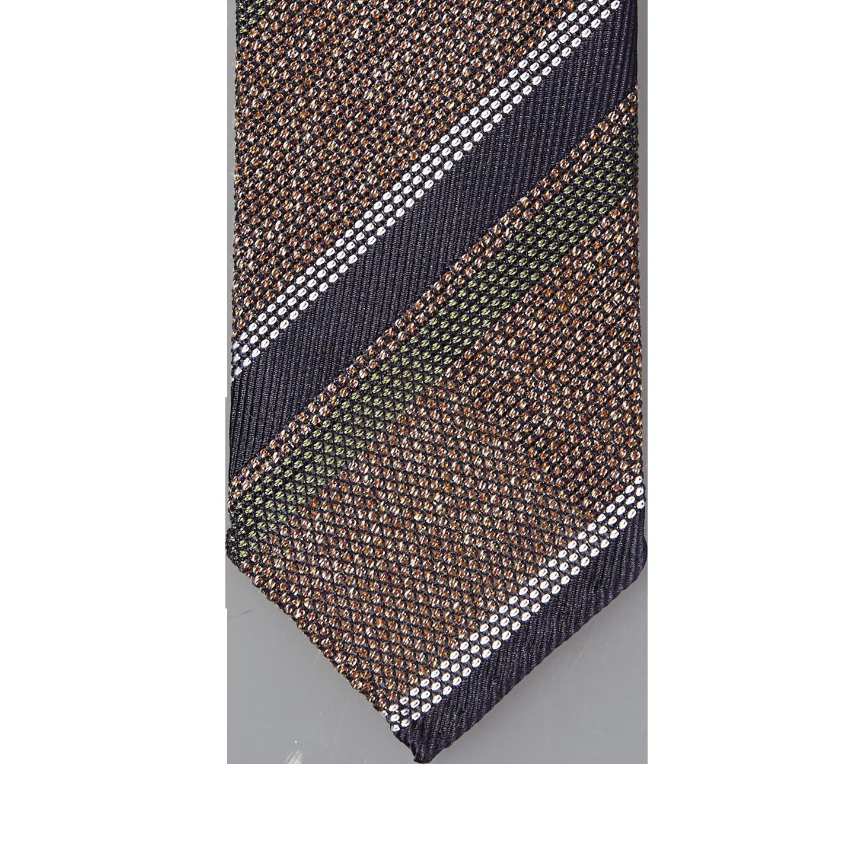 Drake's Brown Multi Tonal Textured Stripe Silk Tie Tip