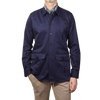 Drake's Navy Cotton Workwear Overshirt Front