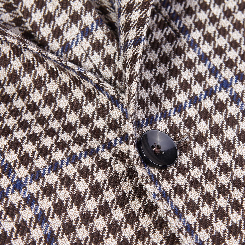 Lardini Brown Houndstooth Wool Silk Linen Blazer Closed