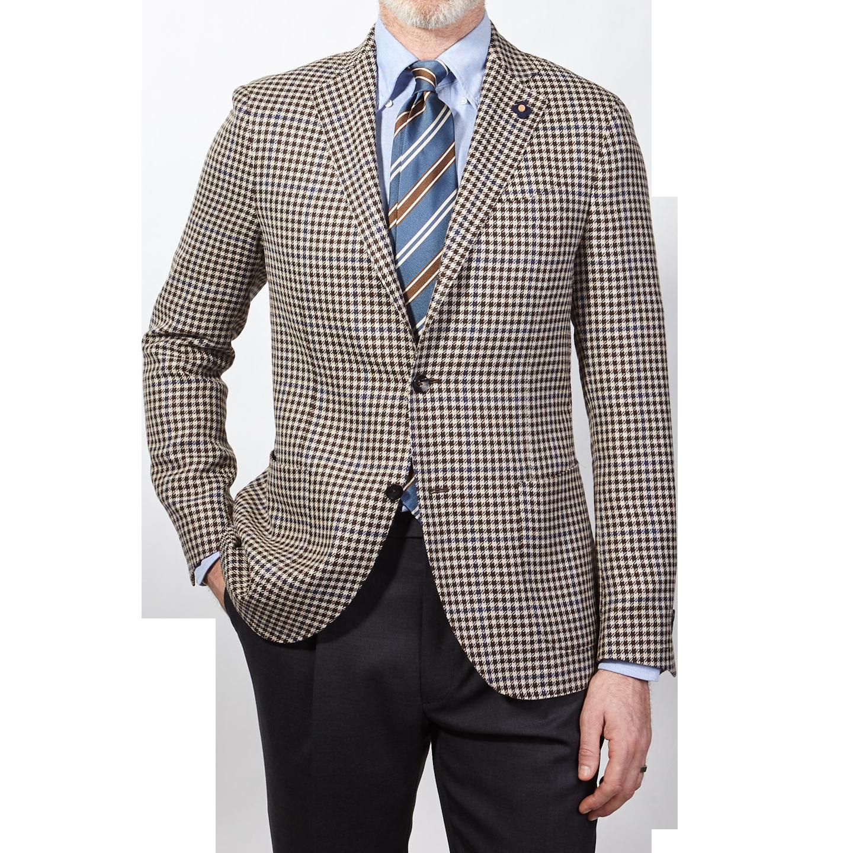 Lardini Brown Houndstooth Wool Silk Linen Blazer Front