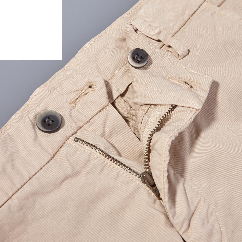 Mason's Beige Milano Washed Cotton Summer Chinos Chinos Zipper