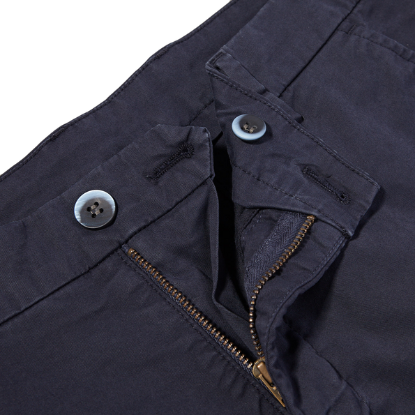 Mason's Navy Milano Washed Cotton Summer Chinos Zipper