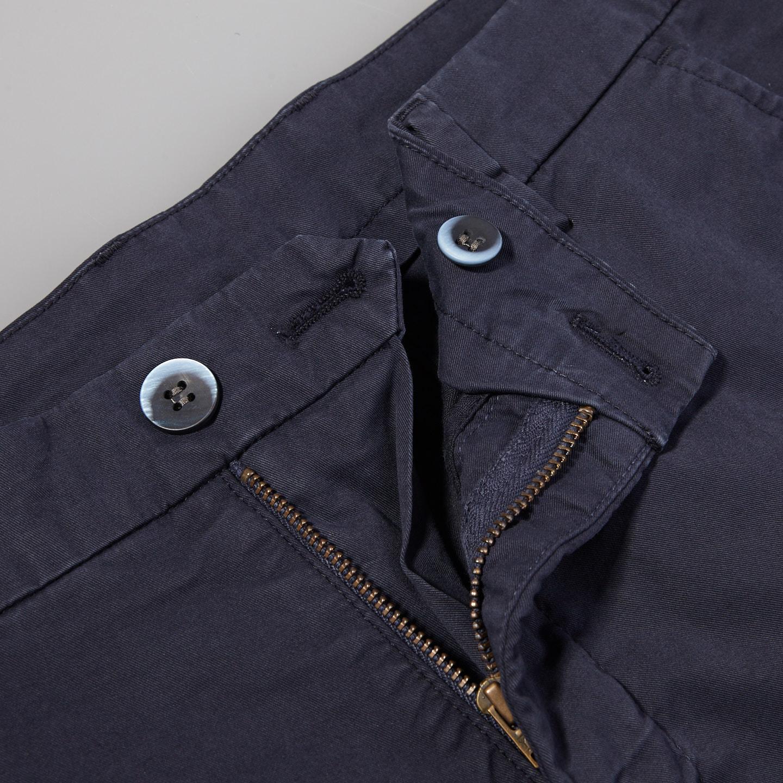 Mason's Navy Milano Washed Cotton Summer Chinos Zipper