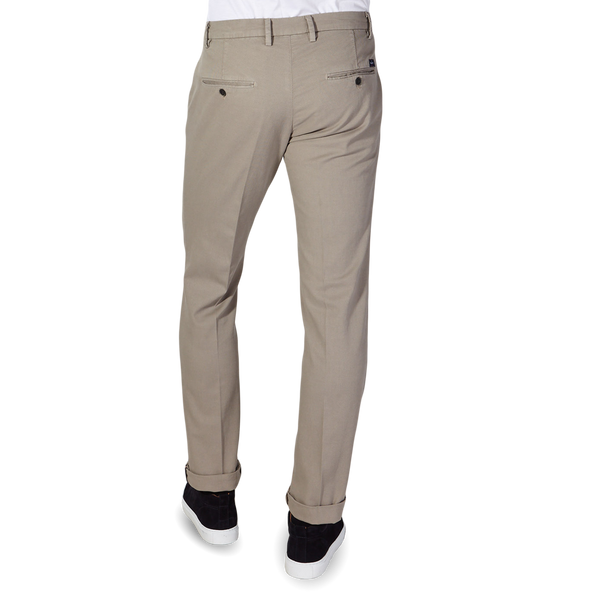 Mason's Taupe Milano Structured Cotton Summer Chinos Back