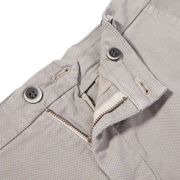 Mason's Taupe Milano Structured Cotton Summer Chinos Zipper