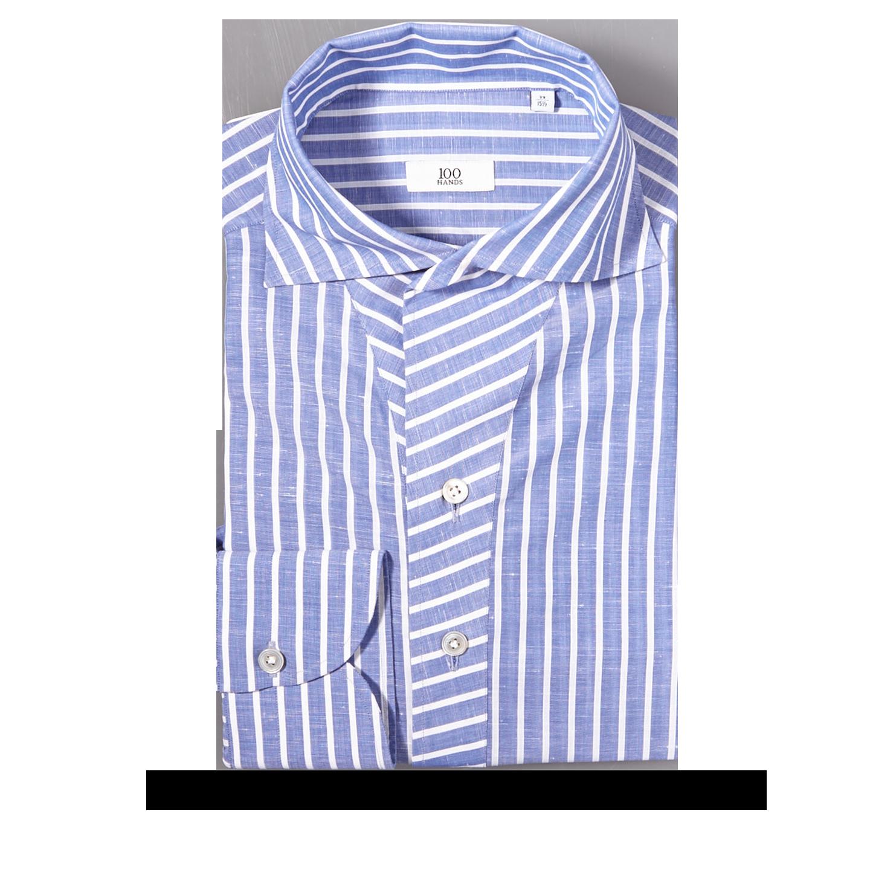 2da8cc650a 100Hands - Blue Striped Linen Cotton Black Line Popover Shirt | Baltzar