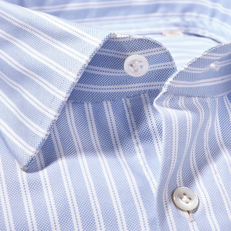 100Hands Light Blue Dobby Stripe Cotton Gold Line Handmade Shirt Collar