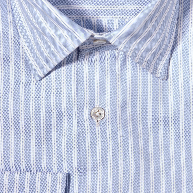 100Hands Light Blue Dobby Stripe Cotton Gold Line Handmade Shirt Fabric