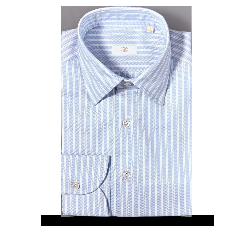 100Hands Light Blue Dobby Stripe Cotton Gold Line Handmade Shirt Feature