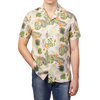 Altea Beige Printed Flowers Short Sleeve Shirt Front