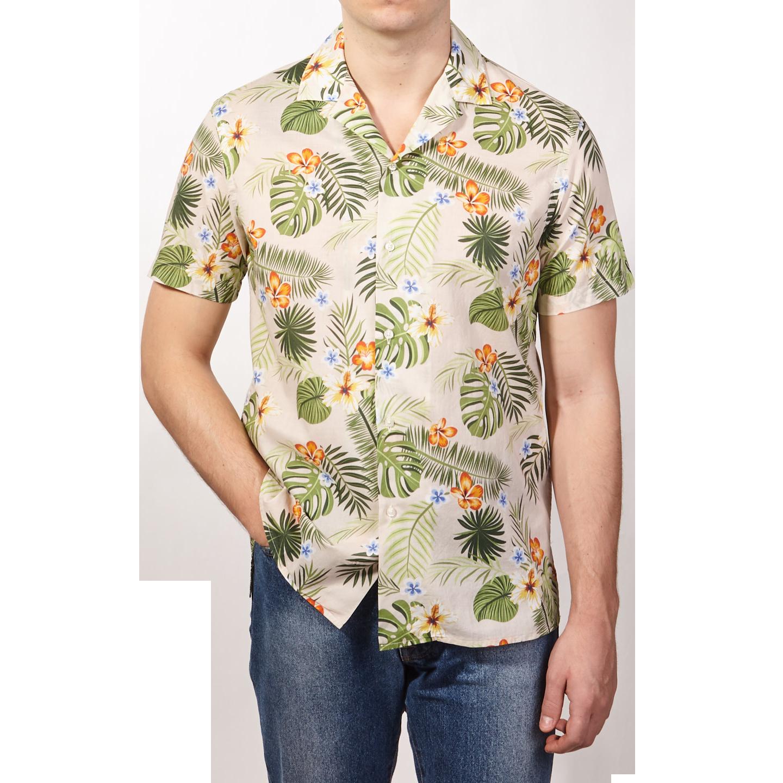 Altea Beige Printed Flowers Short Sleeve Shirt Front