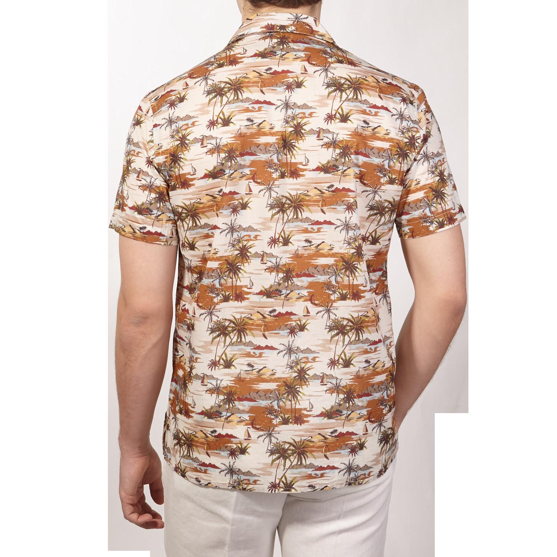 Altea Beige Printed Palmtrees Short Sleeve Shirt Back