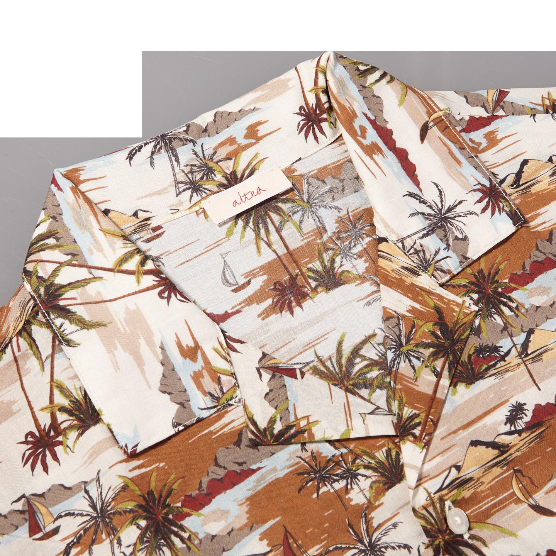 Altea Beige Printed Palmtrees Short Sleeve Shirt Collar