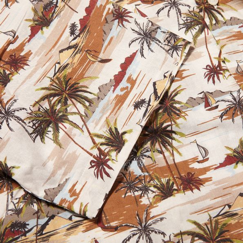 Altea Beige Printed Palmtrees Short Sleeve Shirt Cuff