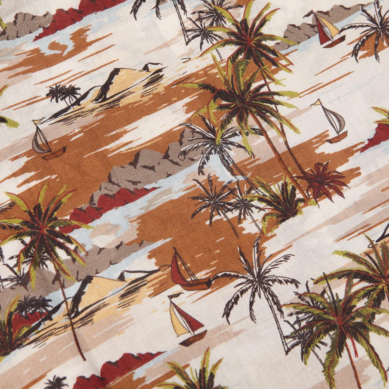 Altea Beige Printed Palmtrees Short Sleeve Shirt Fabric