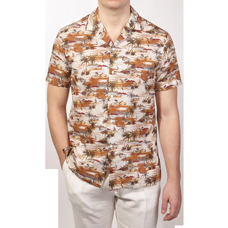 Altea Beige Printed Palmtrees Short Sleeve Shirt Front