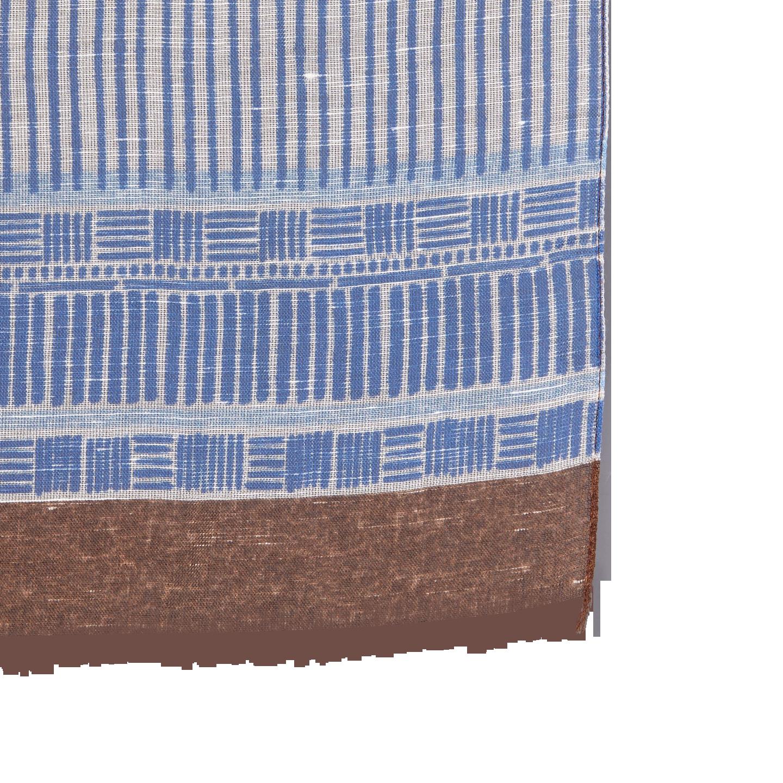 Altea Blue Printed Modal Linen Silk Scarf Edge