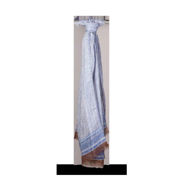 Altea Blue Printed Modal Linen Silk Scarf Feature