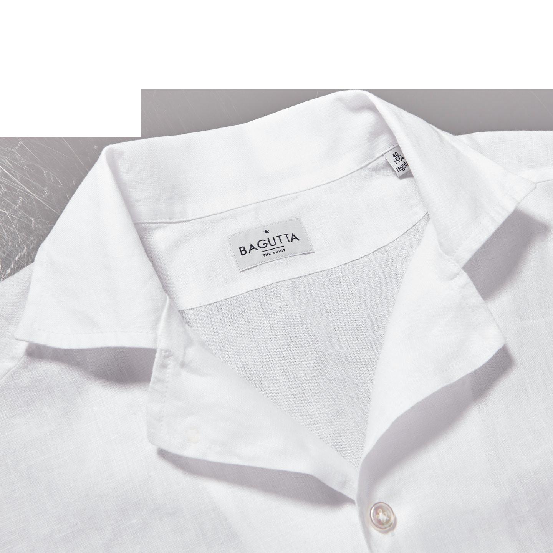 Bagutta White Linen Bowling Collar Shirt Collar