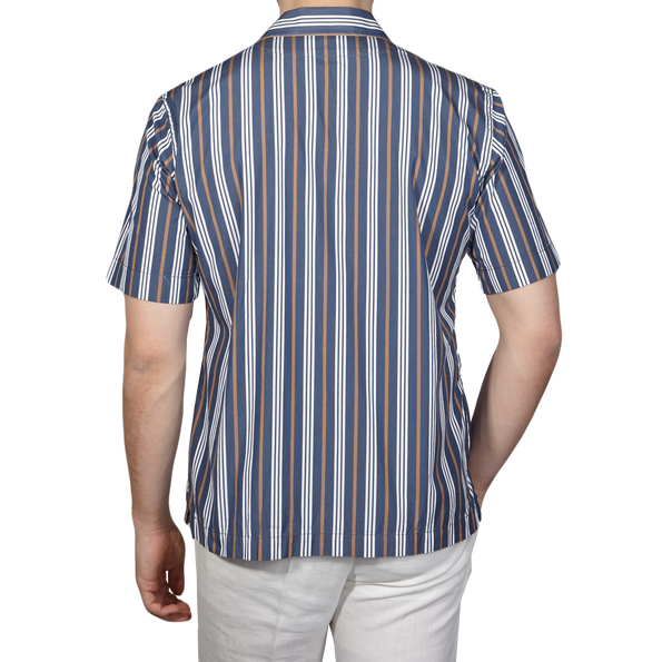 Bagutta Blue Striped Cotton Bowling Collar Shirt Back
