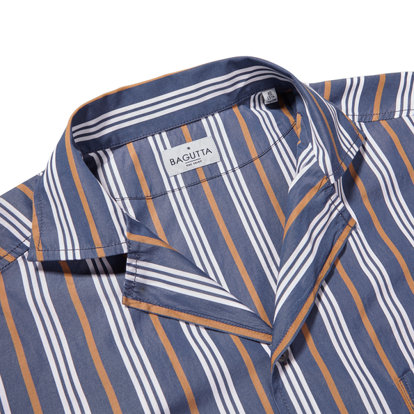 Bagutta Blue Striped Cotton Bowling Collar Shirt Collar