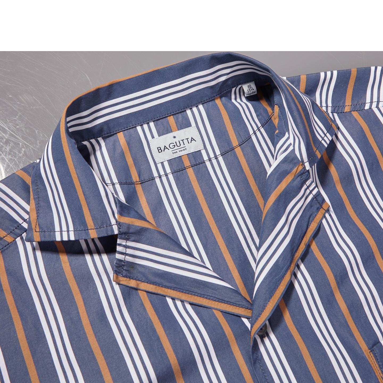 Bagutta Blue Striped Cotton Bowling Collar Shirt Collar