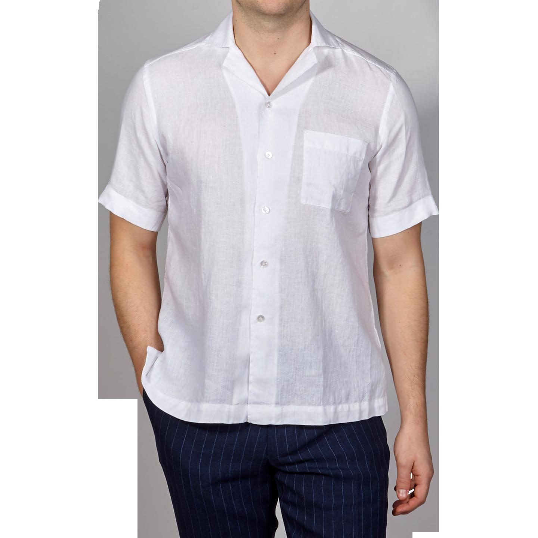 Bagutta White Linen Bowling Collar Shirt Front