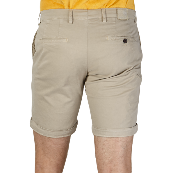 Berwich Beige Bermuda Cotton Shorts Back