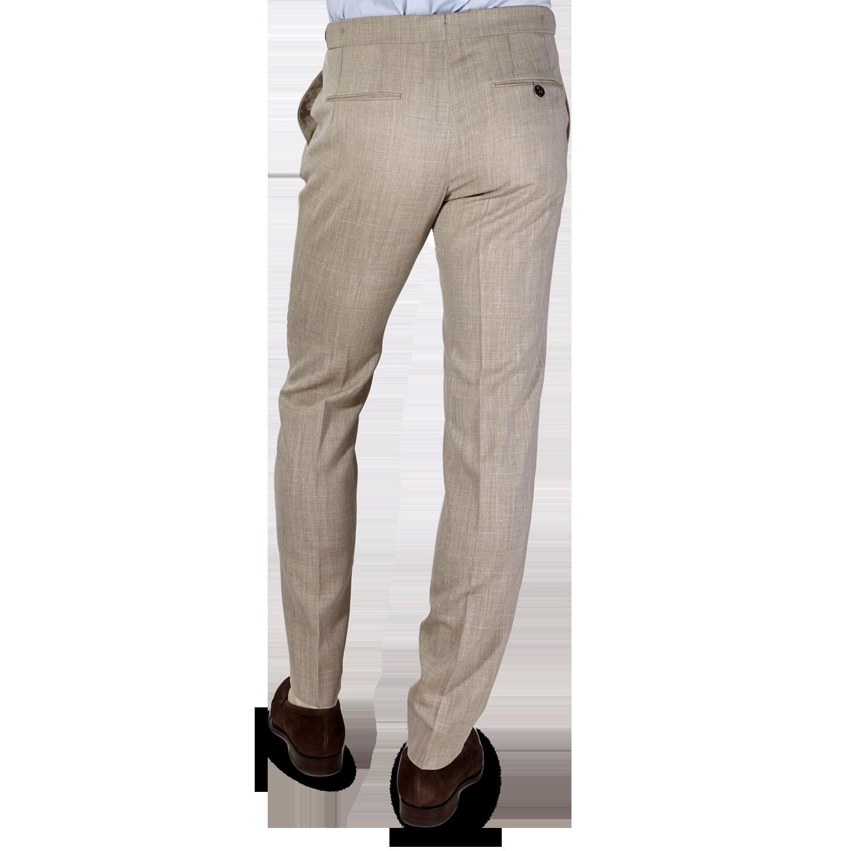 Berwich Beige Loro Piana Wool Fresco Pleated Trousers Back