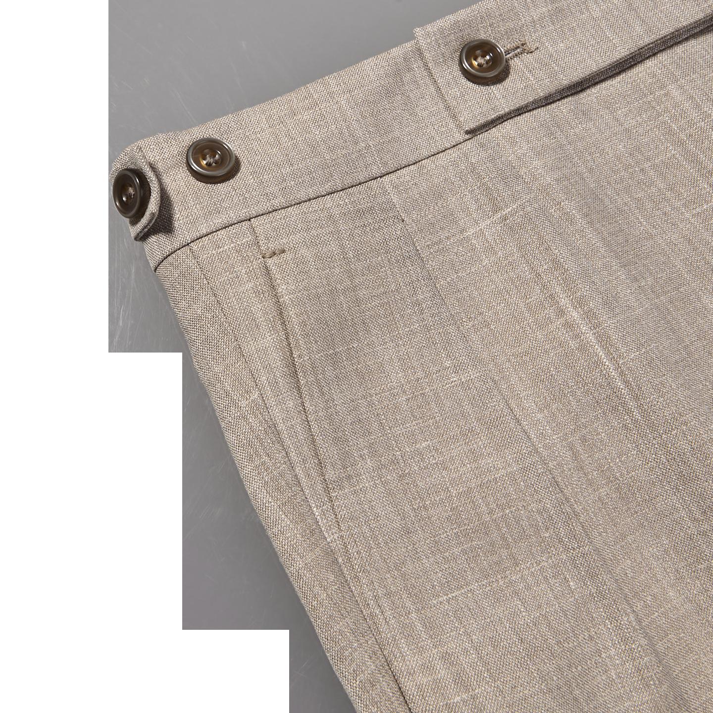 Berwich Beige Loro Piana Wool Fresco Pleated Trousers Edge