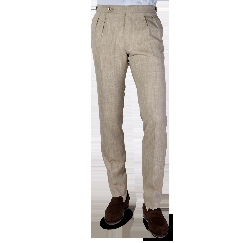 Berwich Beige Loro Piana Wool Fresco Pleated Trousers Front