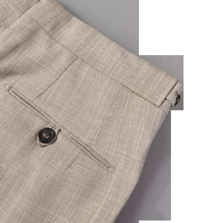 Berwich Beige Loro Piana Wool Fresco Pleated Trousers Pocket