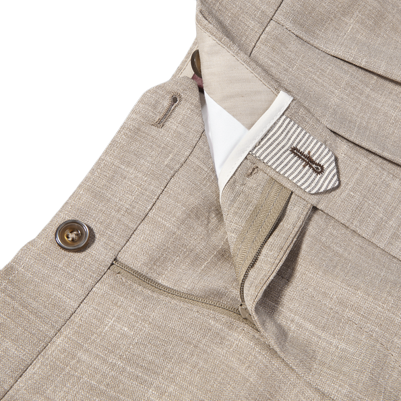 Berwich Beige Loro Piana Wool Fresco Pleated Trousers Zipper