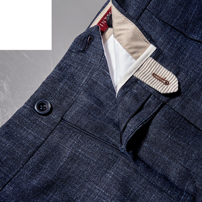 Berwich Blue Loro Piana Wool Fresco Pleated Trousers Zipper
