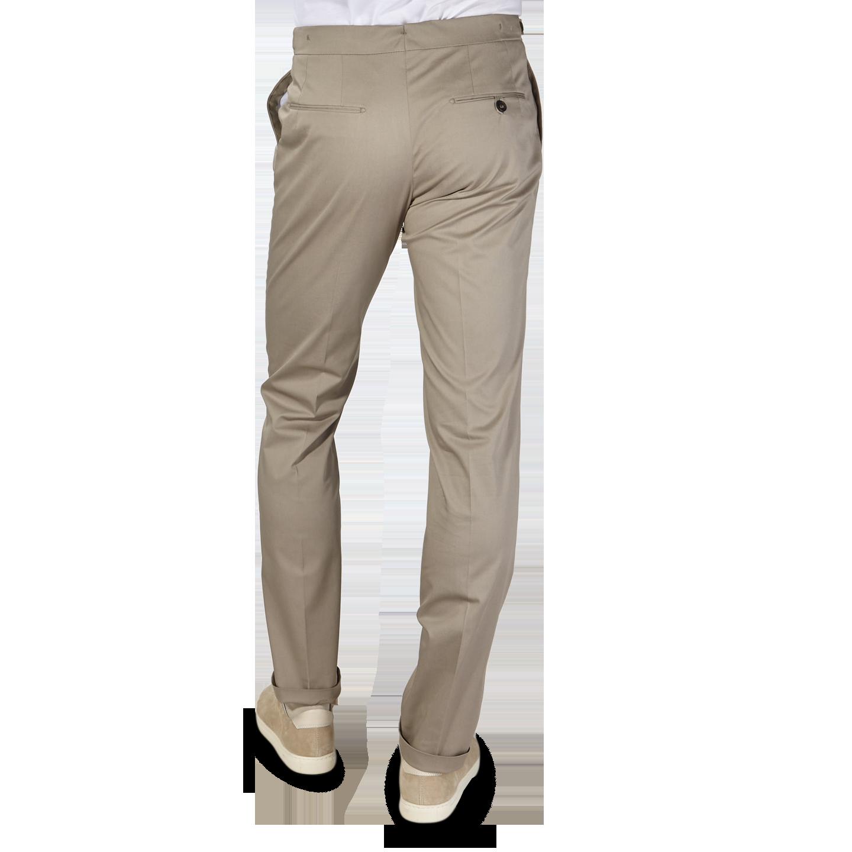 Berwich Khaki Beige Cotton Stretch Pleated Trousers Back