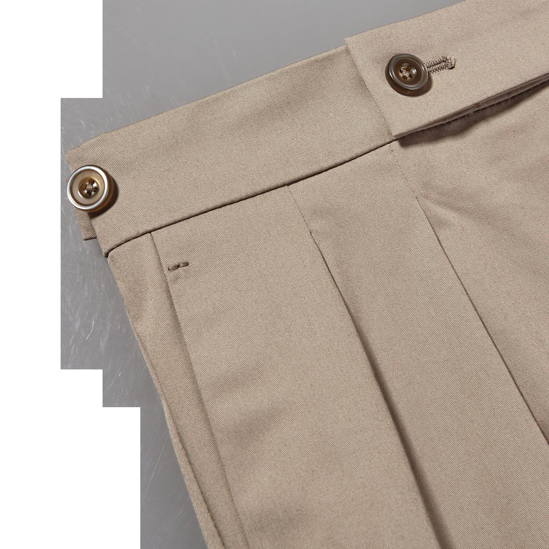 Berwich Khaki Beige Cotton Stretch Pleated Trousers Edge