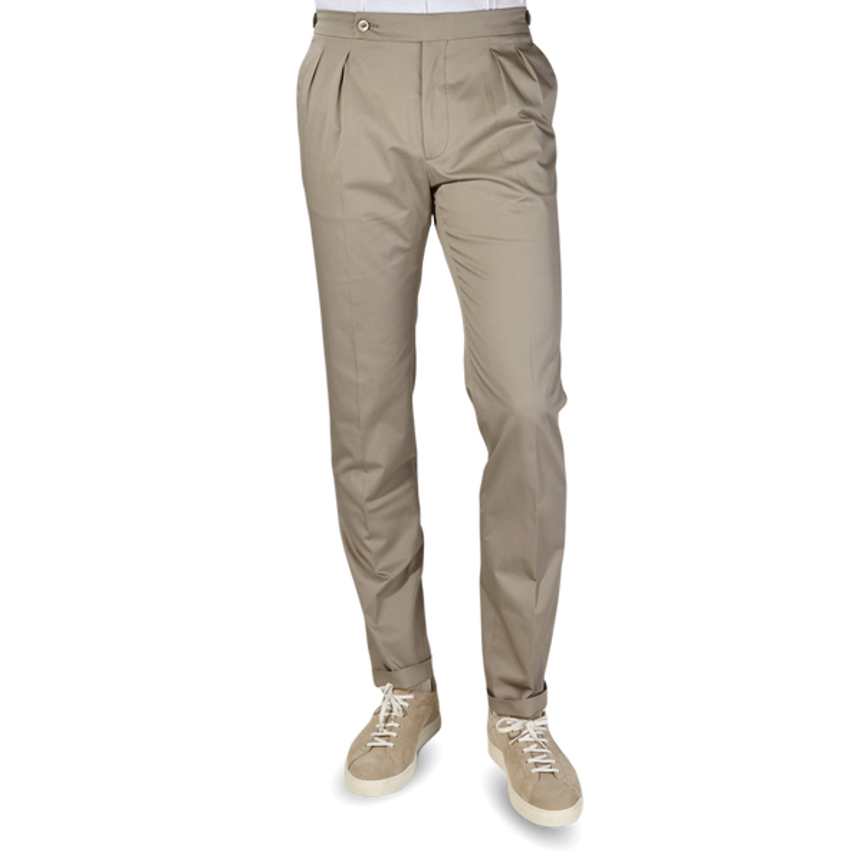 Berwich Khaki Beige Cotton Stretch Pleated Trousers Front