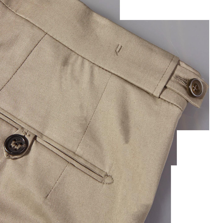 Berwich Khaki Beige Cotton Stretch Pleated Trousers Pocket