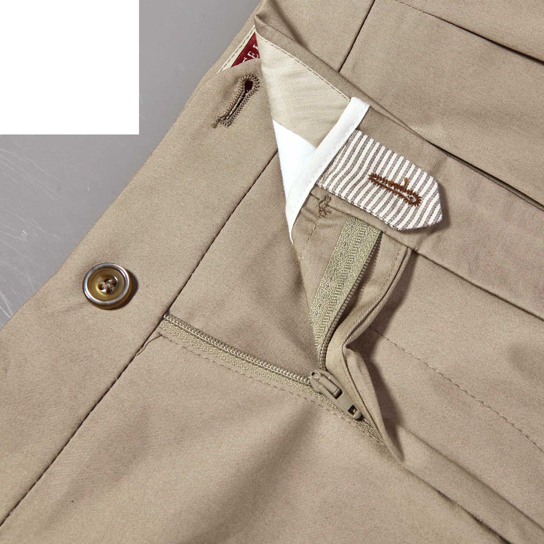 Berwich Khaki Beige Cotton Stretch Pleated Trousers Zipper