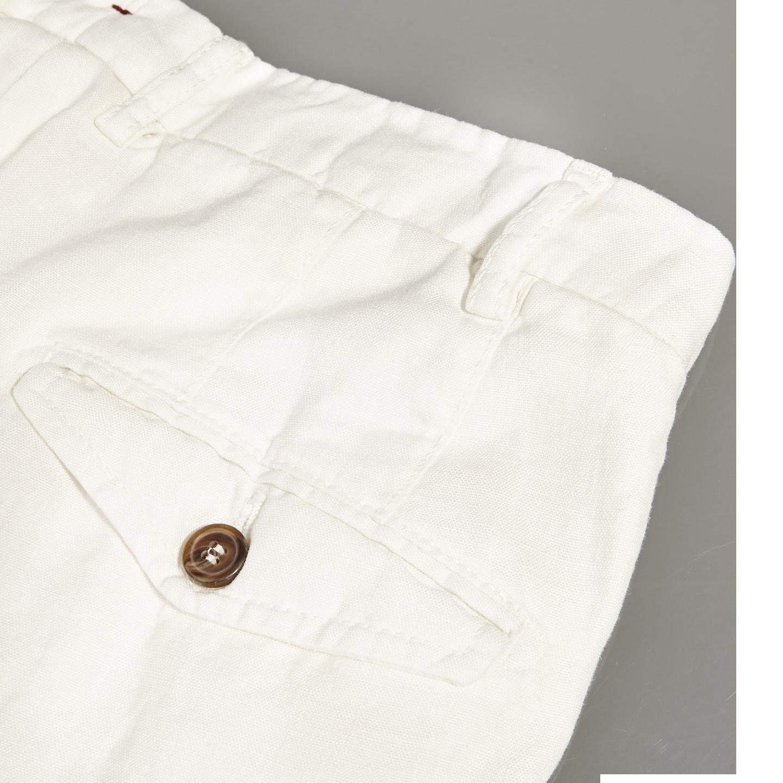 Berwich Off-White Flat Front Linen Trousers Pocket