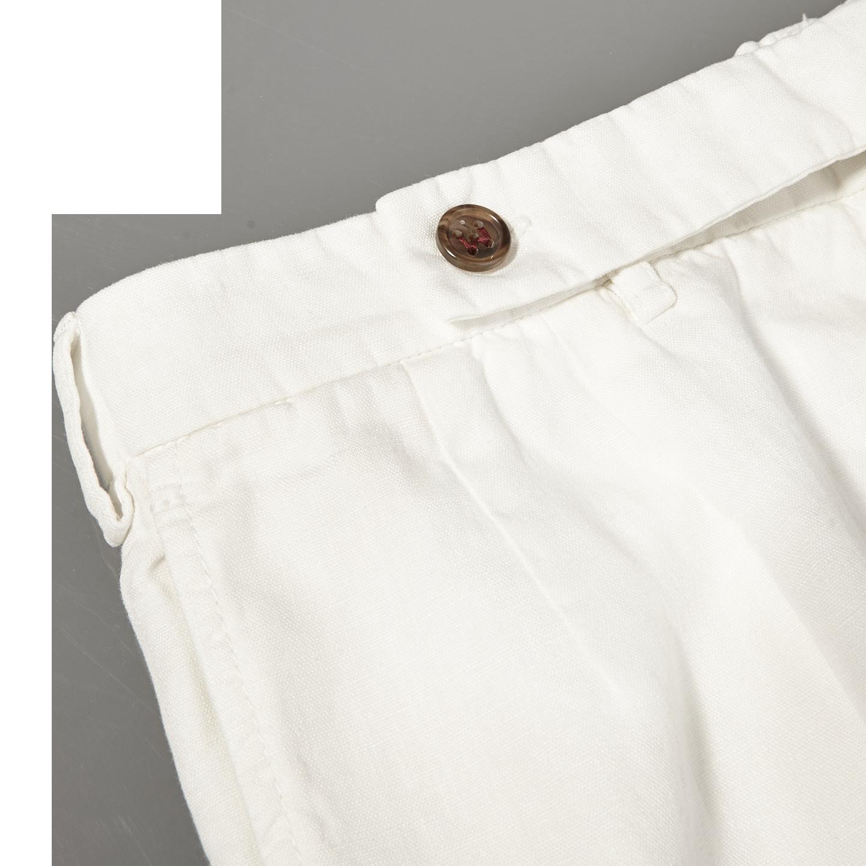 Berwich Off-White Flat Front Linen Trousers Strap